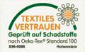 Vom Hohenstein Institut nach Oeko-Tex Standard 100 getestet und zertifiziert